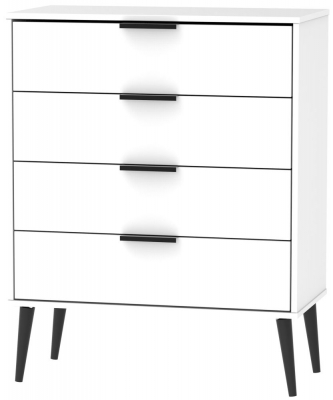Hong Kong White 4 Drawer Chest with Wooden Legs