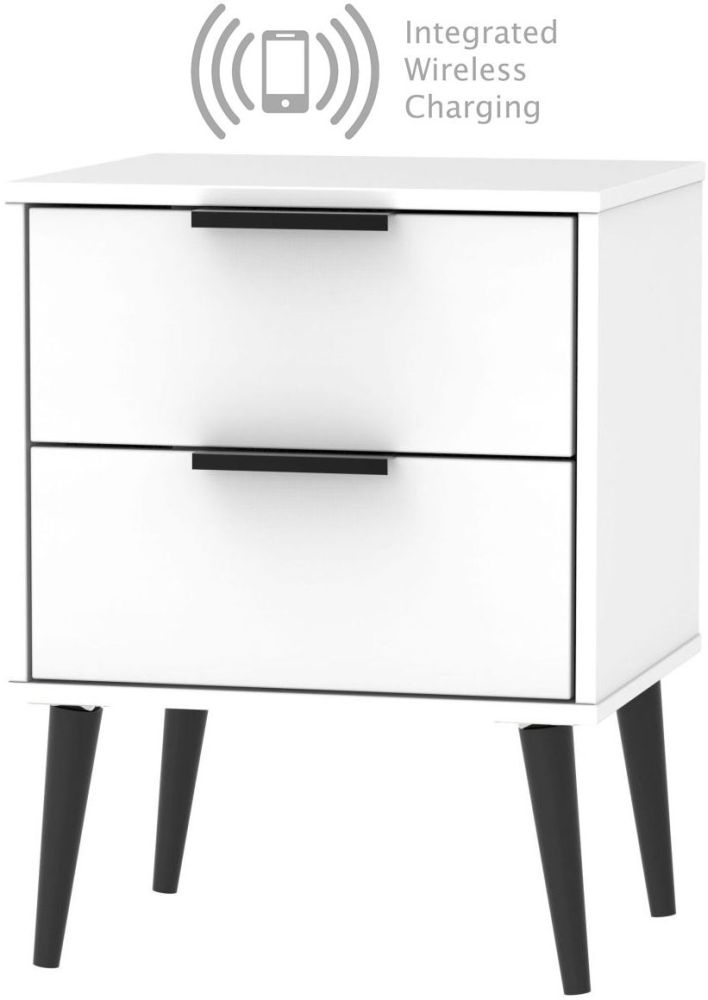 Hong Kong White 2 Drawer Bedside Cabinet with Wooden Legs and Integrated Wireless Charging