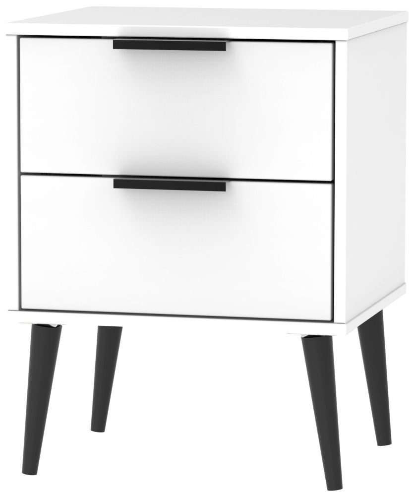 Hong Kong White 2 Drawer Bedside Cabinet with Wooden Legs