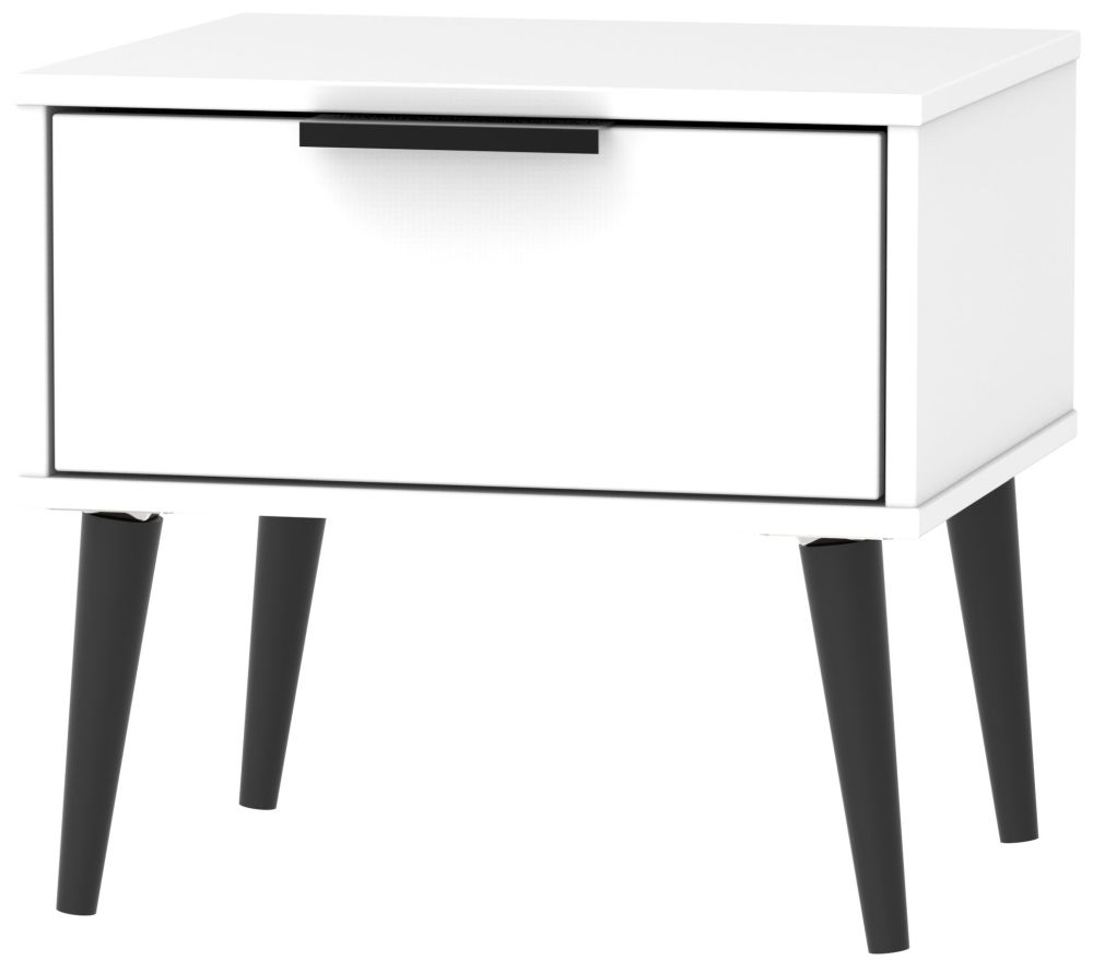 Hong Kong White 1 Drawer Bedside Cabinet with Wooden Legs