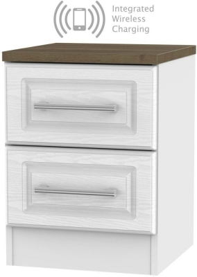 Kent 2 Drawer Bedside Cabinet with Integrated Wireless Charging - White Ash and Oak
