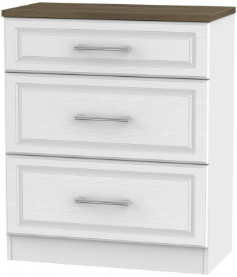 Kent 3 Drawer Deep Chest - White Ash and Oak