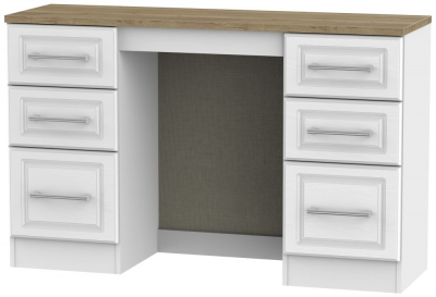 Kent White Ash and Oak Dressing Table - Knee Hole Double Pedestal