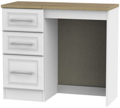 Kent White Ash and Oak Dressing Table - Vanity Knee Hole