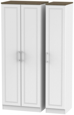 Kent 3 Door Tall Wardrobe - White Ash and Oak