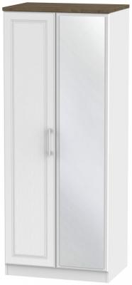 Kent 2 Door Mirror Wardrobe - White Ash and Oak