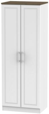 Kent 2 Door Tall Wardrobe - White Ash and Oak