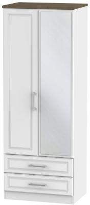 Kent 2 Door Tall Combi Wardrobe - White Ash and Oak