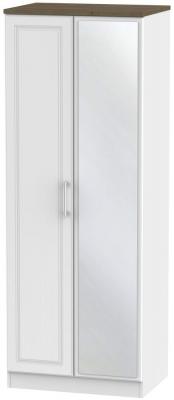 Kent 2 Door Tall Mirror Wardrobe - White Ash and Oak