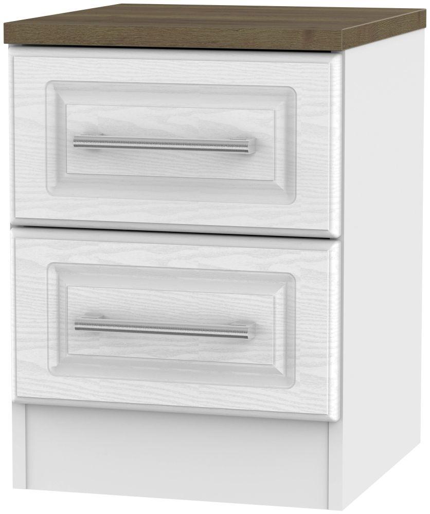 Kent 2 Drawer Bedside Cabinet - White Ash and Oak