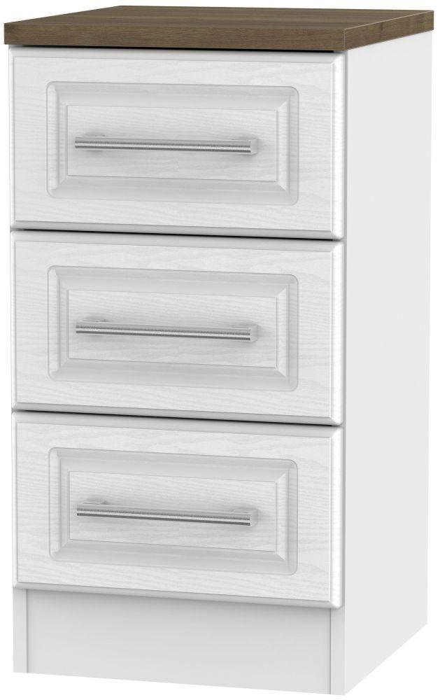 Kent White Ash and Oak Bedside Cabinet - 3 Drawer Locker