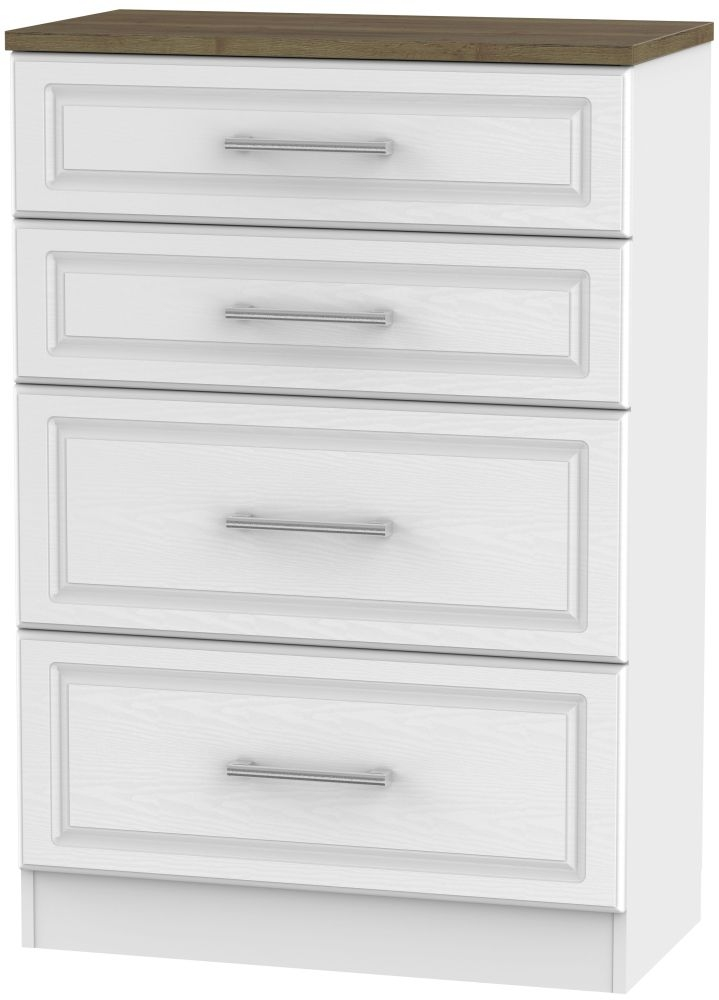 Kent 4 Drawer Deep Chest - White Ash and Oak