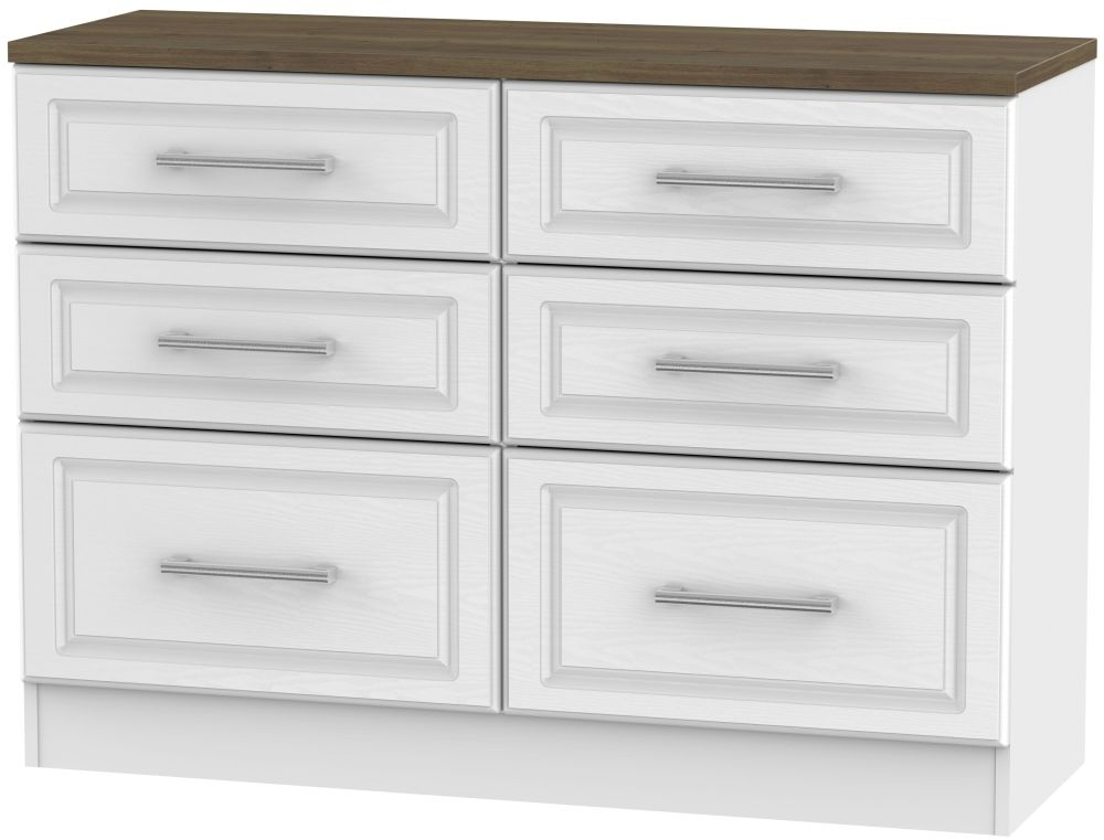 Kent 6 Drawer Midi Chest - White Ash and Oak