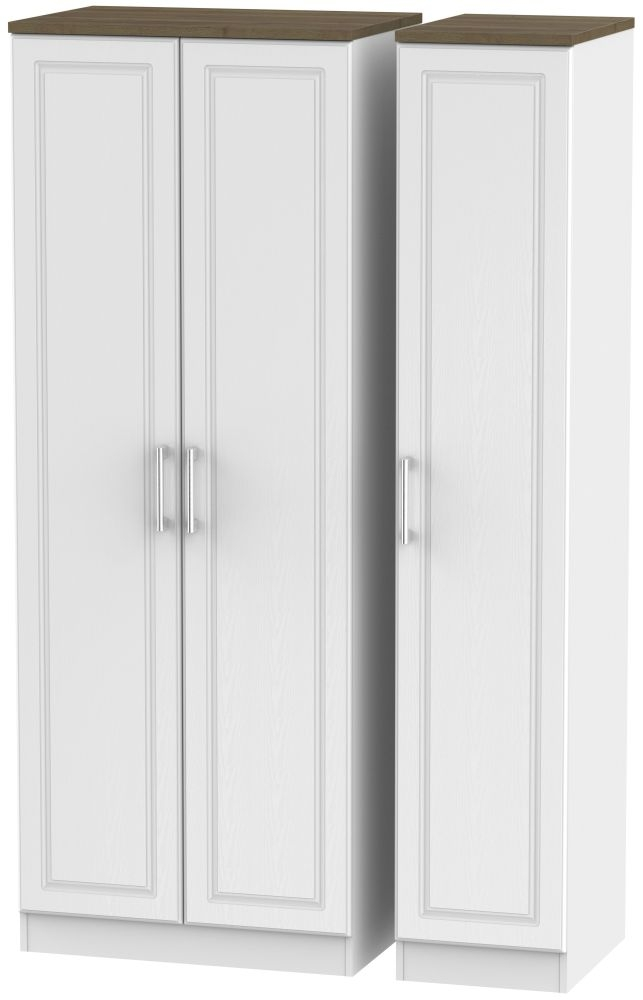 Kent White Ash and Oak Triple Wardrobe - Tall Plain