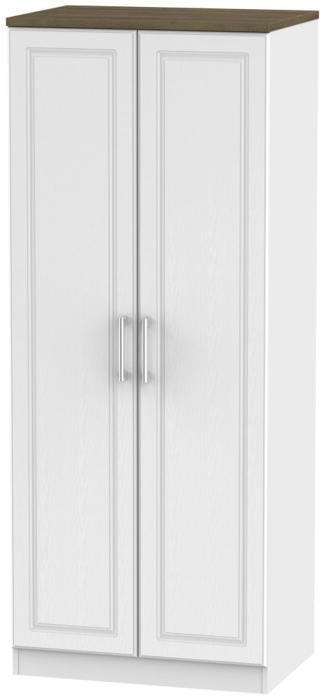 Kent White Ash and Oak 2 Door Plain Wardrobe