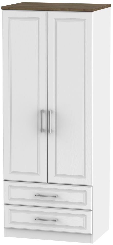 Kent 2 Door 2 Drawer Wardrobe - White Ash and Oak