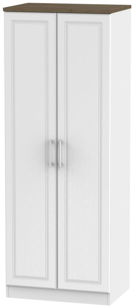 Kent White Ash and Oak 2 Door Tall Plain Double Wardrobe