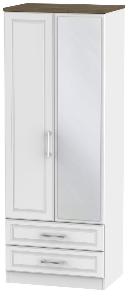 Kent 2 Door Tall Combi Wardrobe - White Ash and Oak