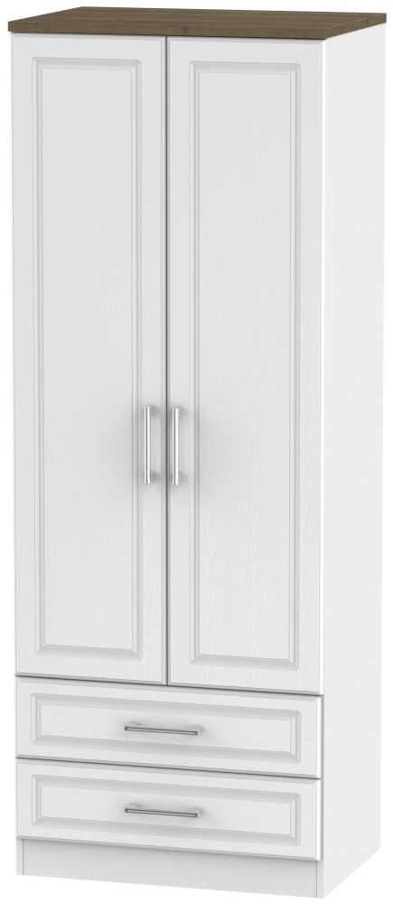 Kent 2 Door 2 Drawer Tall Wardrobe - White Ash and Oak