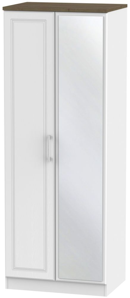 Kent 2 Door Tall Mirror Wardrobe - White Ash and Oak