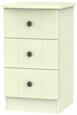 Kingston Cream Bedside Cabinet - 3 Drawer Locker