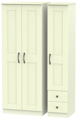 Kingston Cream Triple Wardrobe - Tall Plain with 2 Drawer