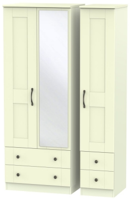 Kingston Cream Triple Wardrobe - Tall with Drawer and Mirror