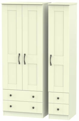 Kingston Cream Triple Wardrobe - Tall with Drawer