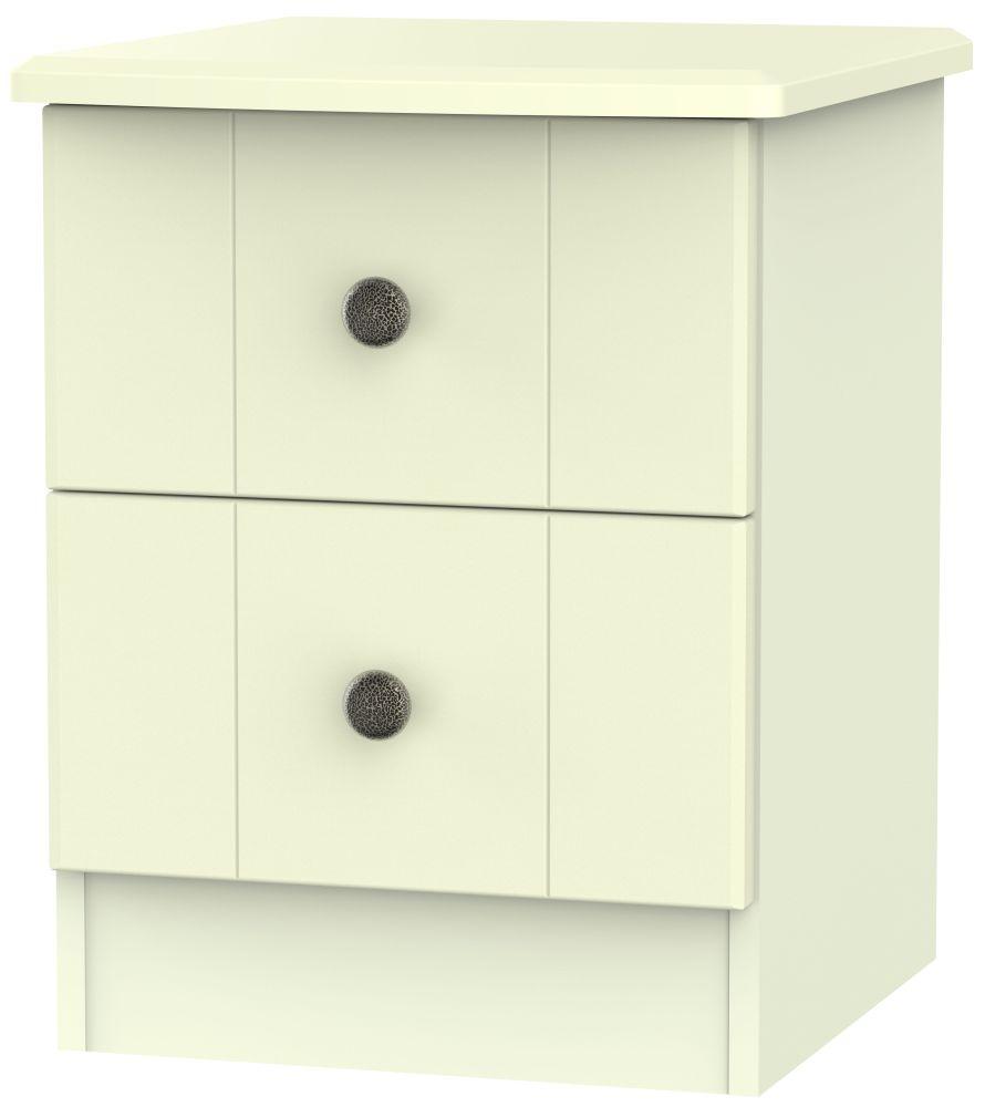 Kingston Cream Bedside Cabinet - 2 Drawer Locker