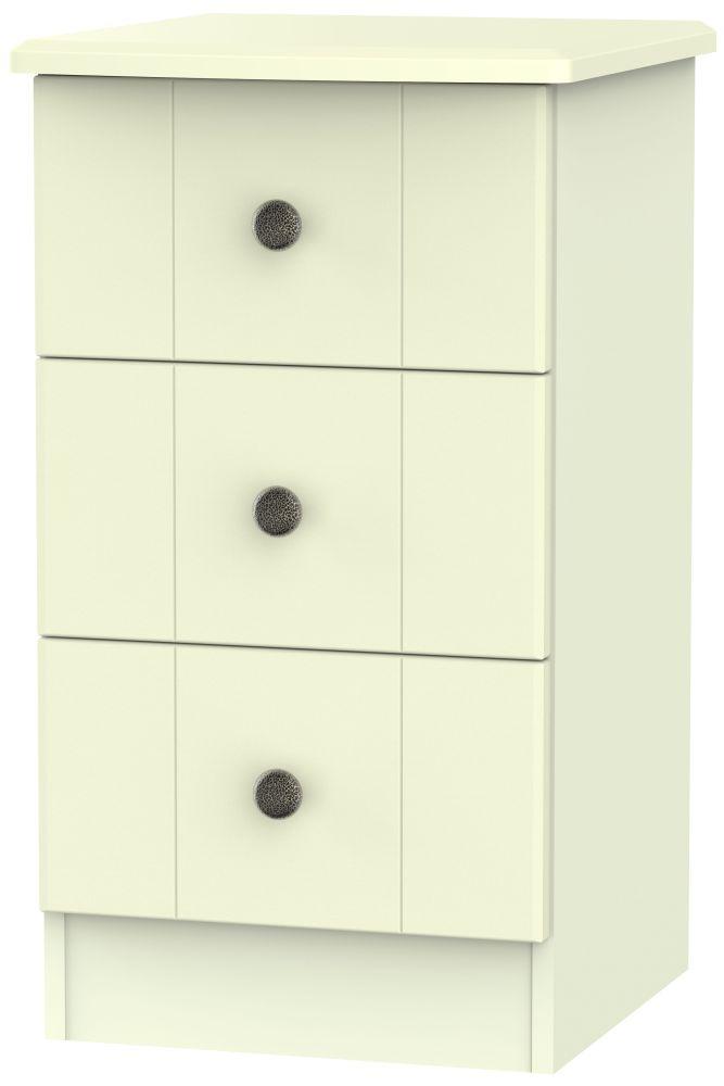 Kingston Cream Bedside Cabinet - 3 Drawer Locker