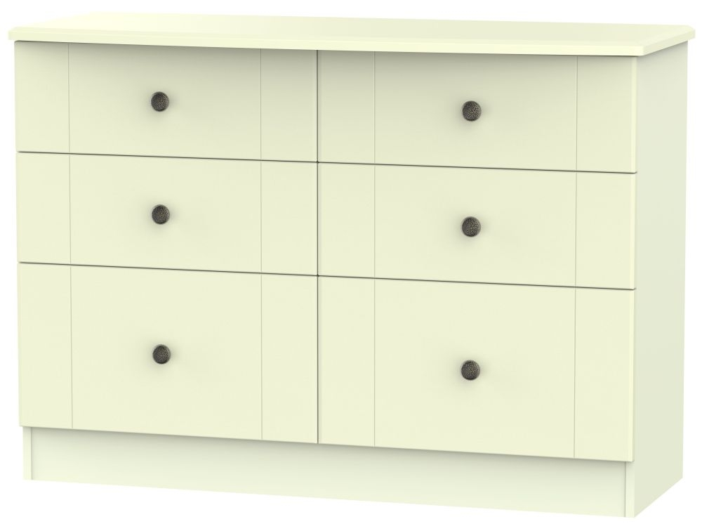 Kingston Cream Chest of Drawer - 6 Drawer Midi