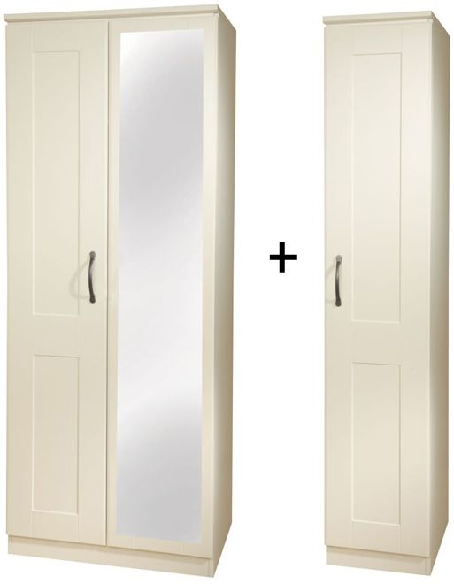 Kingston Cream Triple Mirror Wardrobe