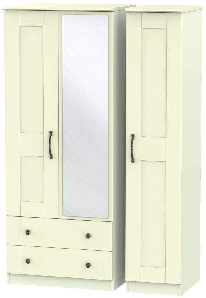 Kingston Cream Triple Wardrobe - 2 Drawer with Mirror