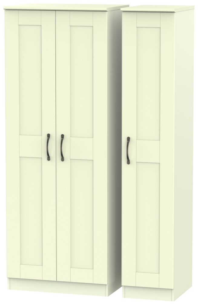 Kingston Cream Triple Wardrobe - Tall Plain