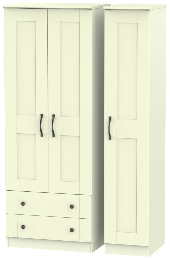 Kingston Cream Triple Wardrobe - Tall with 2 Drawer