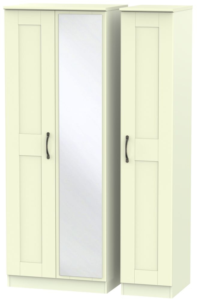 Kingston Cream Triple Wardrobe - Tall with Mirror