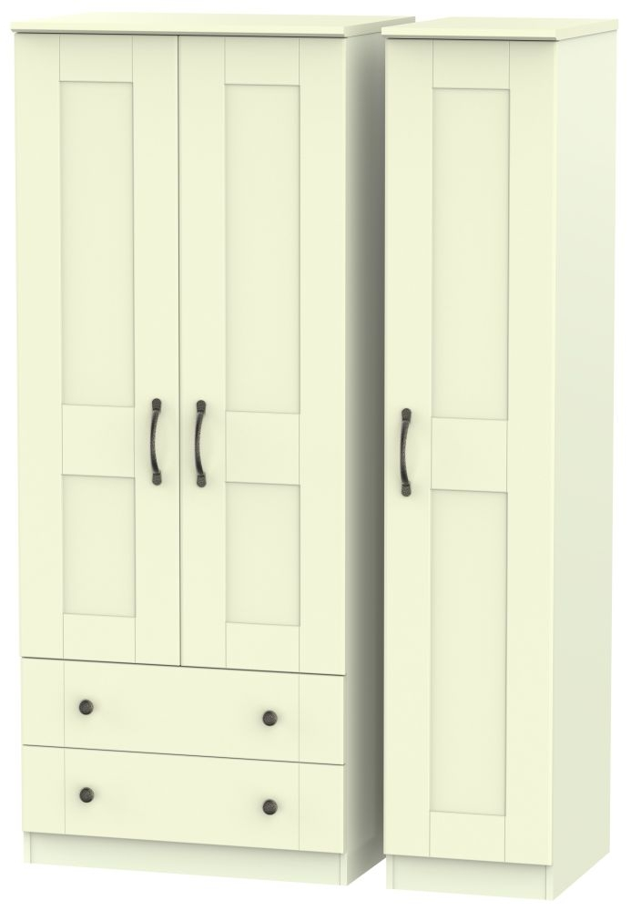 Kingston Cream Triple Wardrobe with 2 Drawer