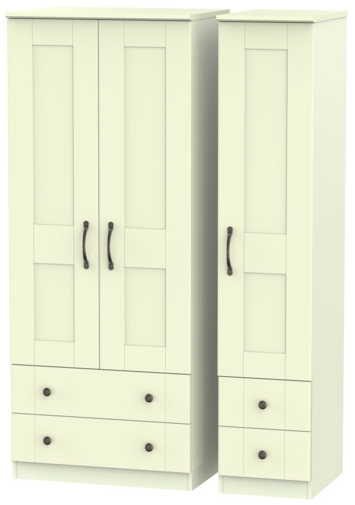 Kingston Cream Triple Wardrobe - with Drawer