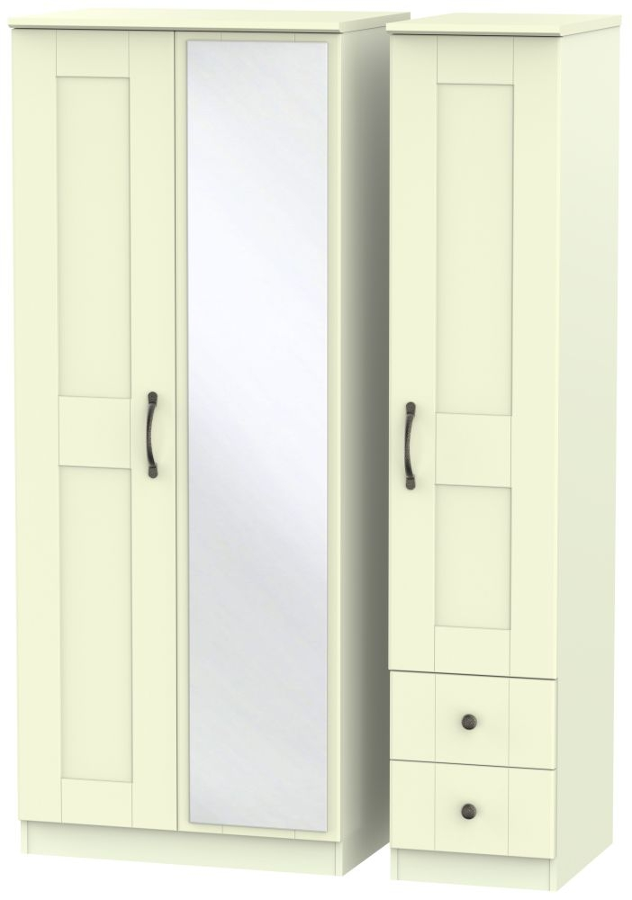 Kingston Cream Triple Wardrobe - with Mirror and 2 Drawer
