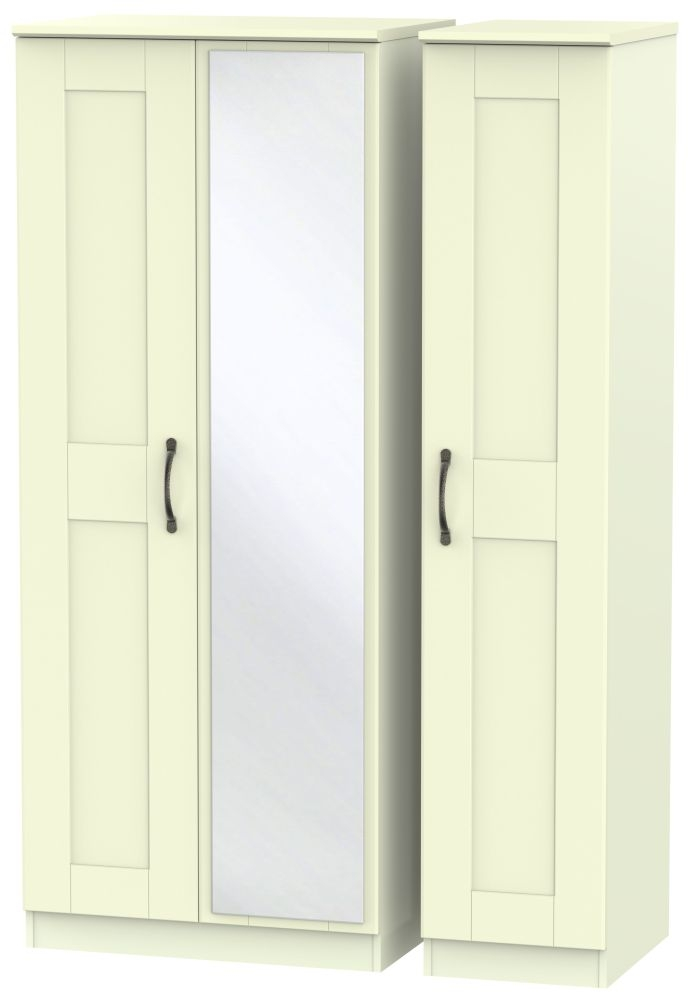 Kingston Cream Triple Wardrobe with Mirror