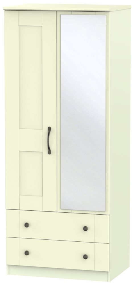 Kingston Cream Wardrobe - 2ft 6in 2 Drawer with Mirror
