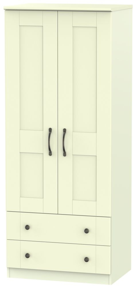Kingston Cream Wardrobe - 2ft 6in with 2 Drawer