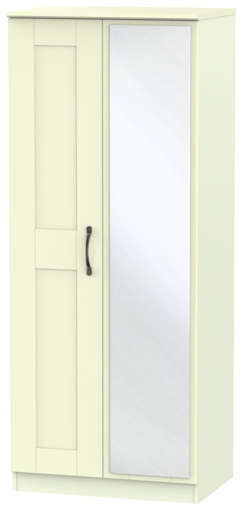 Kingston Cream Wardrobe - 2ft 6in with Mirror