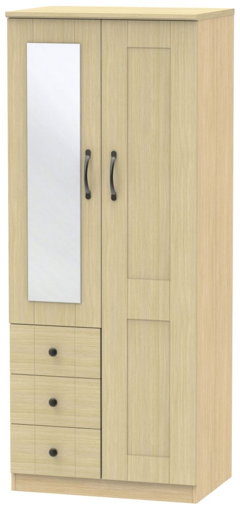 Kingston Light Oak Combination Wardrobe - 2ft 6in