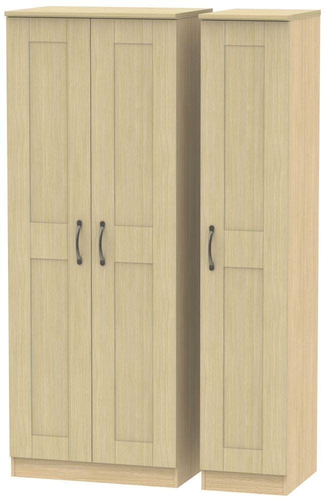 Kingston Light Oak Triple Wardrobe - Tall Plain