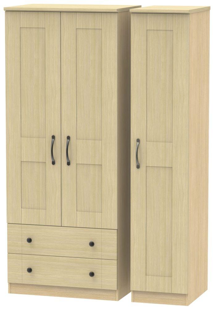 Kingston Light Oak Triple Wardrobe with 2 Drawer