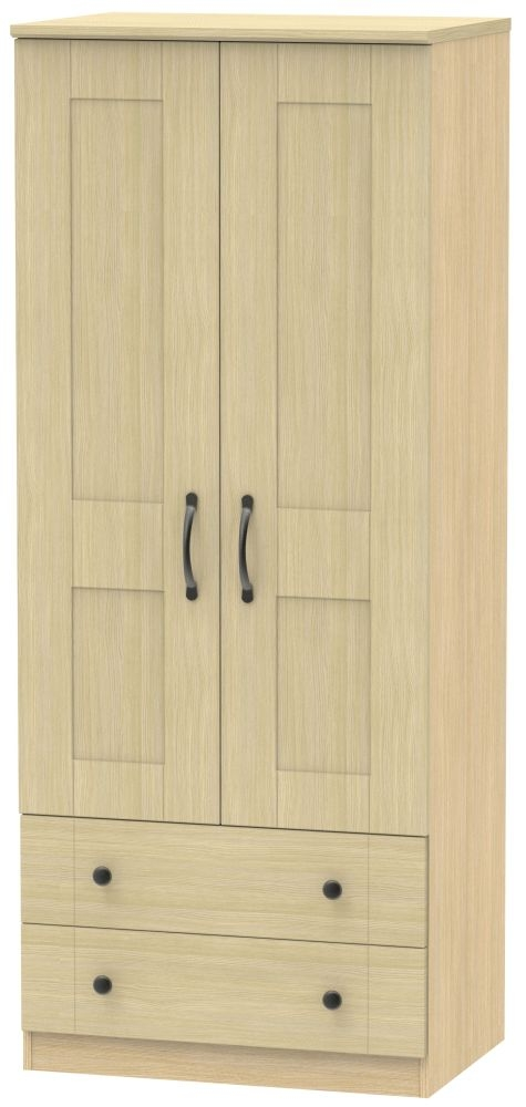 Kingston Light Oak Wardrobe - 2ft 6in with 2 Drawer