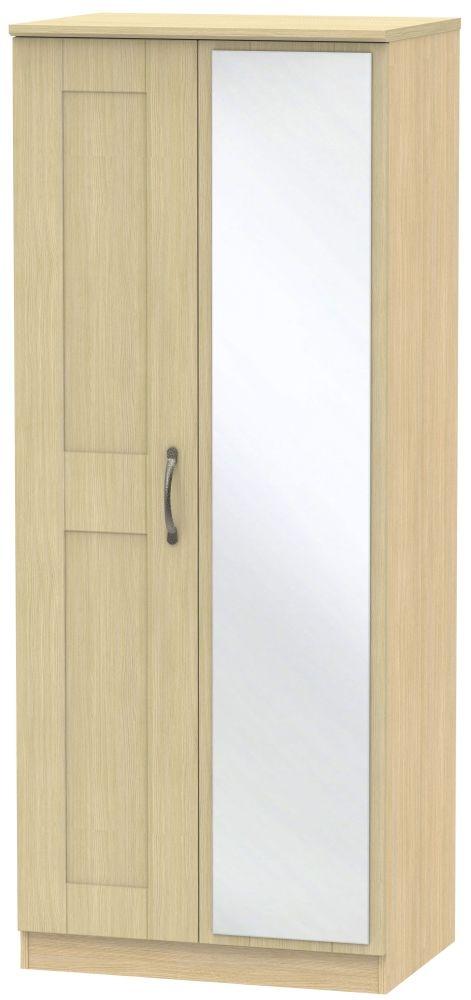 Kingston Light Oak Wardrobe - 2ft 6in with Mirror