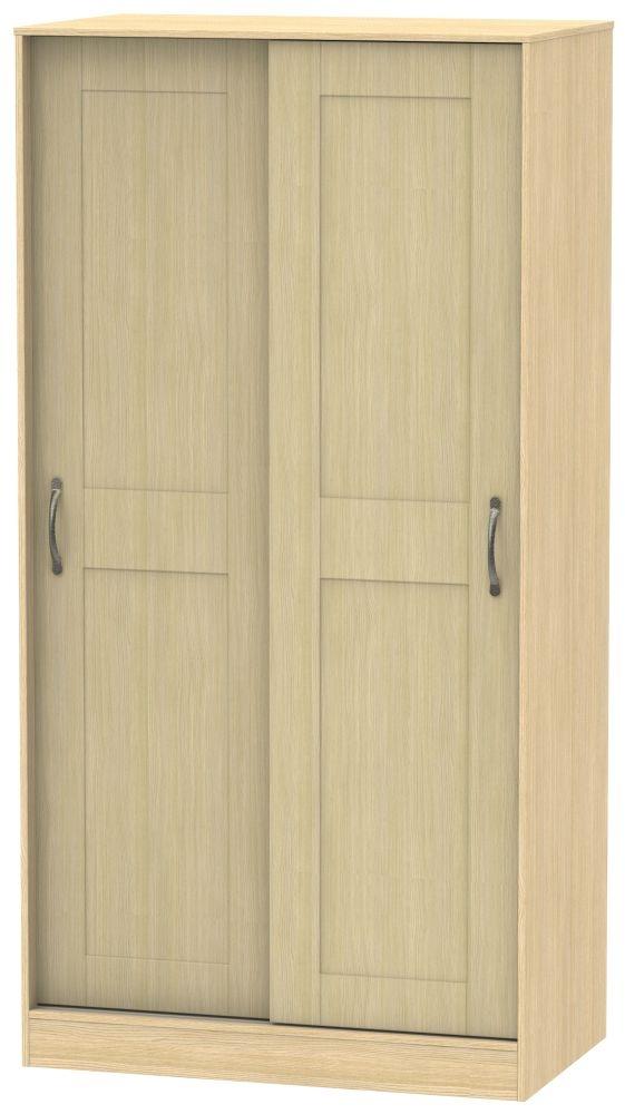 Kingston Light Oak Sliding Wardrobe - 100cm Wide