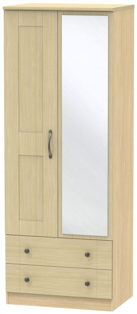 Kingston Light Oak Wardrobe - Tall 2ft 6in with 2 Drawer and Mirror